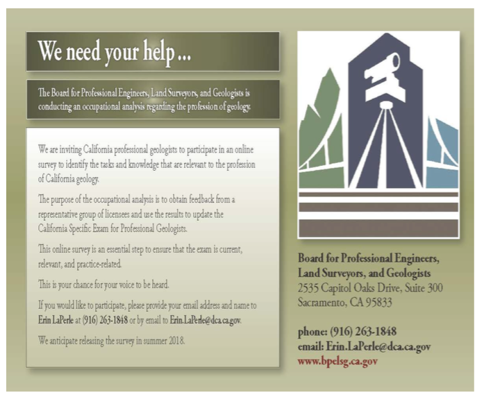 Professional Geologists Needed-Occupational Analysis Task Force Committee for BPELSG Exam Update